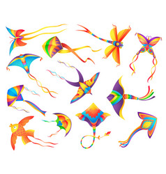 Flying paper kites decorated color ribbons vector