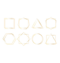 geometric golden frames simple shapes thin vector image