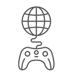 global game thin line icon play and world globe vector image