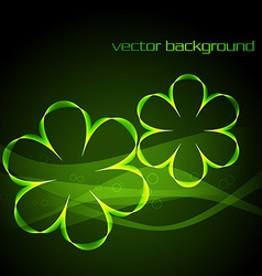 Glowing green digital flower vector