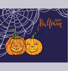 halloween background happy halloween calligraphy vector image