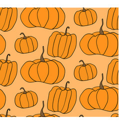 halloween pumpkin pattern orange backgrou vector image