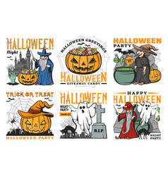 Halloween spooky whitch ghost pumpkin bat icons vector