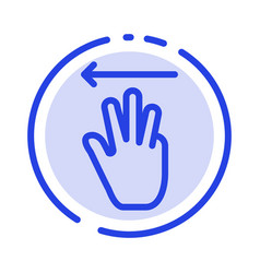 hand hand cursor up left blue dotted line line vector image