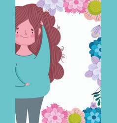 happy mothers day cute woman flowers floral vector image