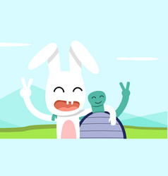 hare and tortoise take pictures together vector image
