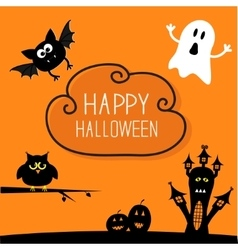 Haunted house pumpkins owl bat ghost Cloud in vector image