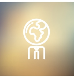 Human with globe head thin line icon vector image