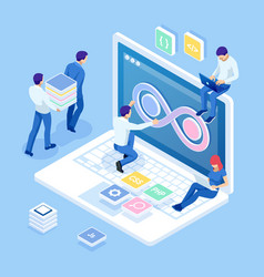 isometric technology process software vector image