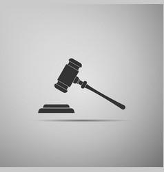 judge gavel icon isolated on grey background vector image