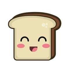Kawaii cartoon bread slice vector