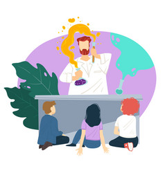 kids watching teacher doing chemical experiments vector image