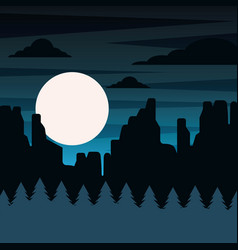 landscape night scene mountains rock pine tree vector image