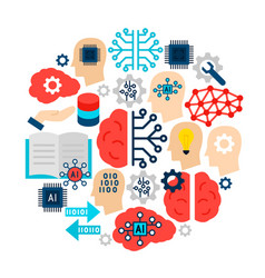 Machine learning icons circle vector