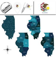 Map of illinois with regions vector