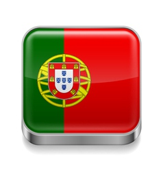 Metal icon of Portugal vector image