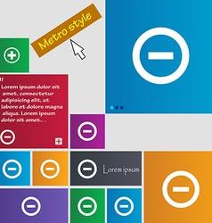 Minus Negative zoom stop icon sign Metro style vector