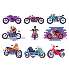 modern sport bikes and bikers in leather jackets vector image