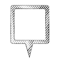 monochrome sketch of square speech with tail and vector image