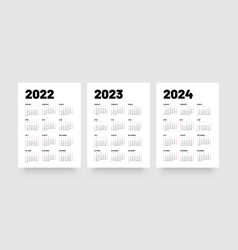 Monthly calendar for 2022 2023 and 2024 years vector