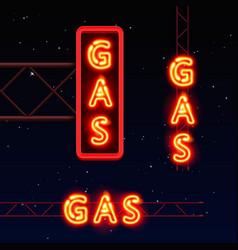 Neon signboard gas text vector