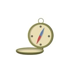 Old-school pocket compass open vector