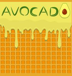 On theme falling runny avocado drip at sugary vector