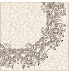ornate circle floral card announcement vector image