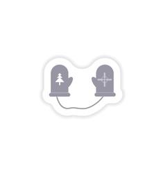 Paper sticker on white background mittens warm vector
