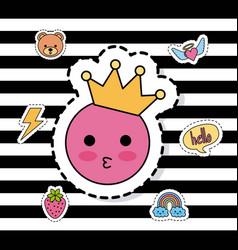 Pink emoticon kiss crown decoration fantasy vector