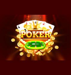 poker label frame golden banner border winner vector image