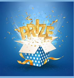 prize gold text open textured blue box with vector image