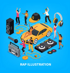 Rap music isometric vector