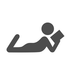 read book man flat icon pictograph isolated vector image