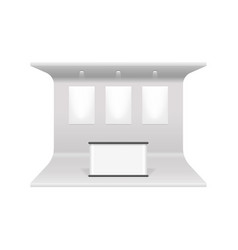 Realistic 3d detailed white blank exhibition stand vector