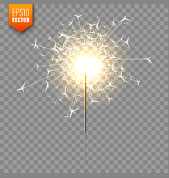 Realistic christmas sparkler on transparent vector