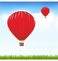 Red Hot Air Balloons Floating In Sky vector image