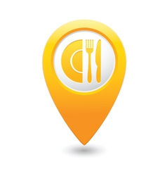 Restaurant icon map pointer yellow vector
