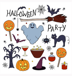 rgbset of hand drawn elements for halloween party vector image