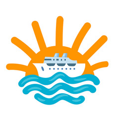 Sea travel cruise icon vector