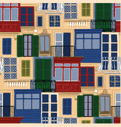 Seamless pattern antient maltese balconies vector