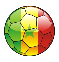 Senegal flag on soccer ball vector