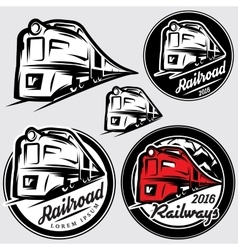 Set emblems in retro style with locomotives and vector