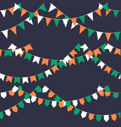 set of garland with celebration flags chain green vector image