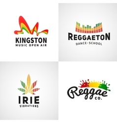 Set of positive ephiopia flag logo Jamaica vector image
