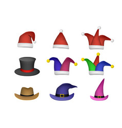 set of santa hat and other fashion cap on white vector image