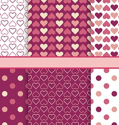 set of seamless romantic patterns tiling - pink vector image
