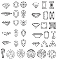 Set of shapes of diamond in wireframe vector