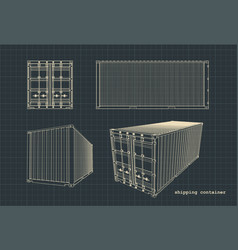 Shipping container drawings vector