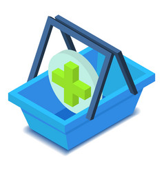 Shopping basket with cross icon isometric style vector